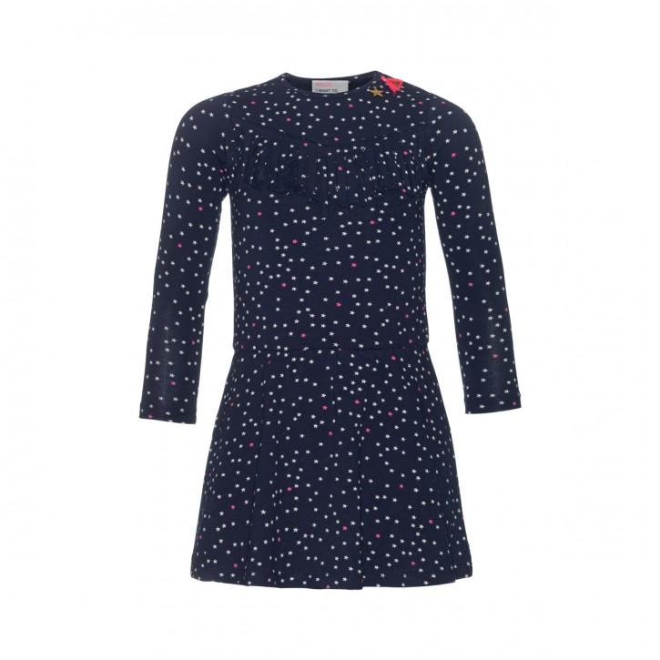 Mim-Pi Langarm-Kleid Sterne allover blau