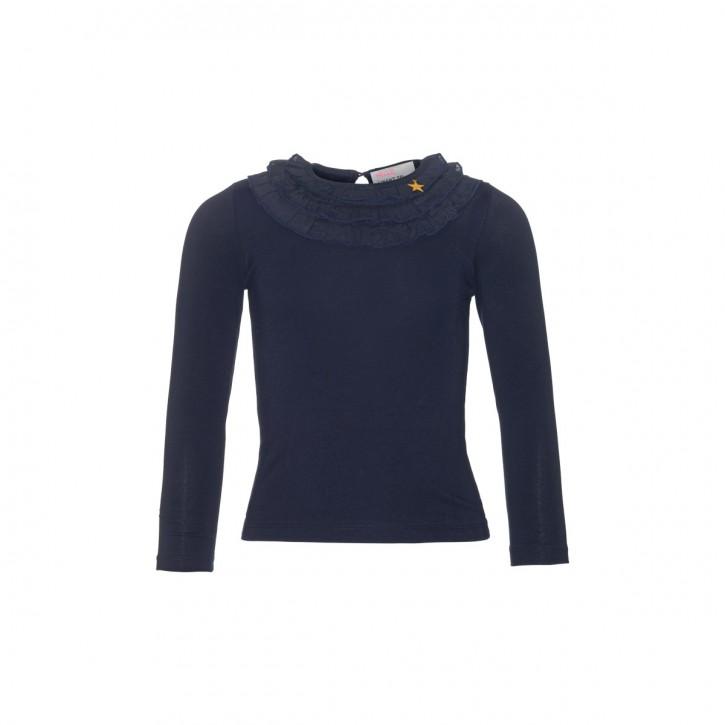 Mim-Pi Langarm-Shirt/Longsleeve Volants am Ausschnitt blau