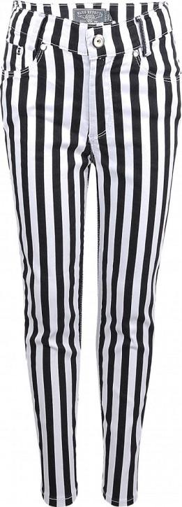 Blue Effect Mädchen High-Waist Hose cropped Streifen schwarz weiß SLIM