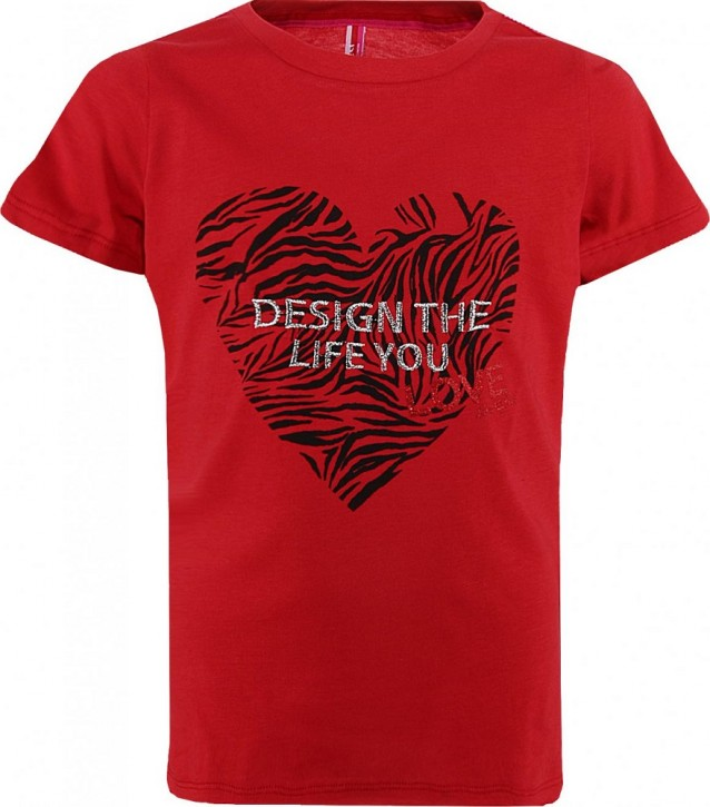 Blue Effect Mädchen T-Shirt DESIGN THE LIFE YOU feuerrot