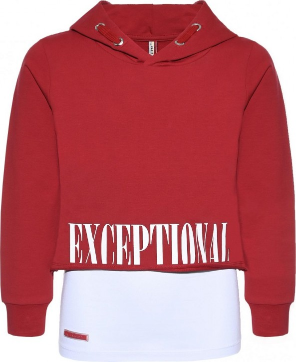 Blue Effect Mädchen Boxy-Kapuzen-Sweat-Shirt / Hoodie + Top EXCEPTIONAL granatrot