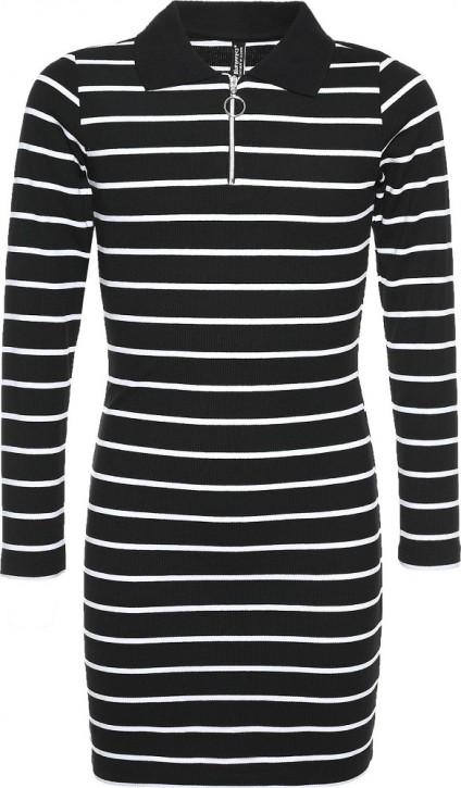 Blue Effect Mädchen Langarm Ripp-Kleid schwarz weiß
