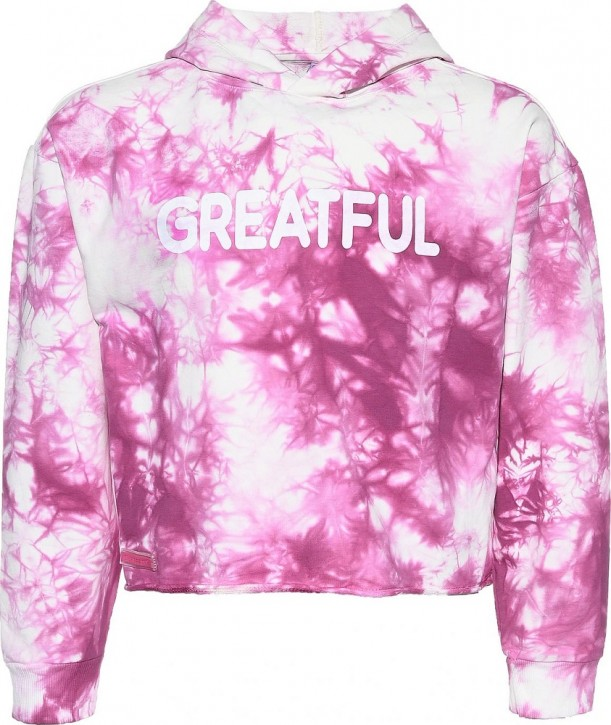 Blue Effect Mädchen Boxy Kapuzen-Sweat-Shirt / Hoodie GREATFUL fuchsia batic