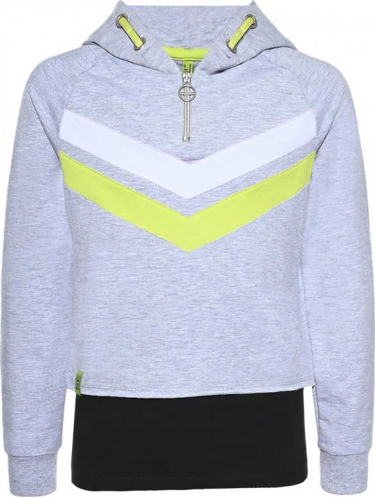 Blue Effect Mädchen Boxy-Kapuzen-Sweat-Shirt / Hoodie + Top ATHLETIC/GALAXY hellgrau mel