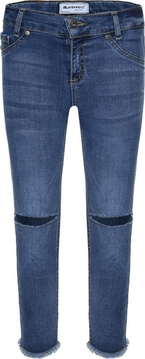 Blue Effect Mädchen cropped High-Waist Jeans ultrastretch Knee Cut medium blue SLIM