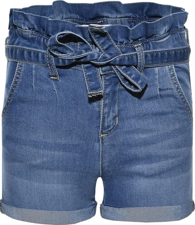 Blue Effect Mädchen Paperbag High-Waist Jeans Short medium blue NORMAL