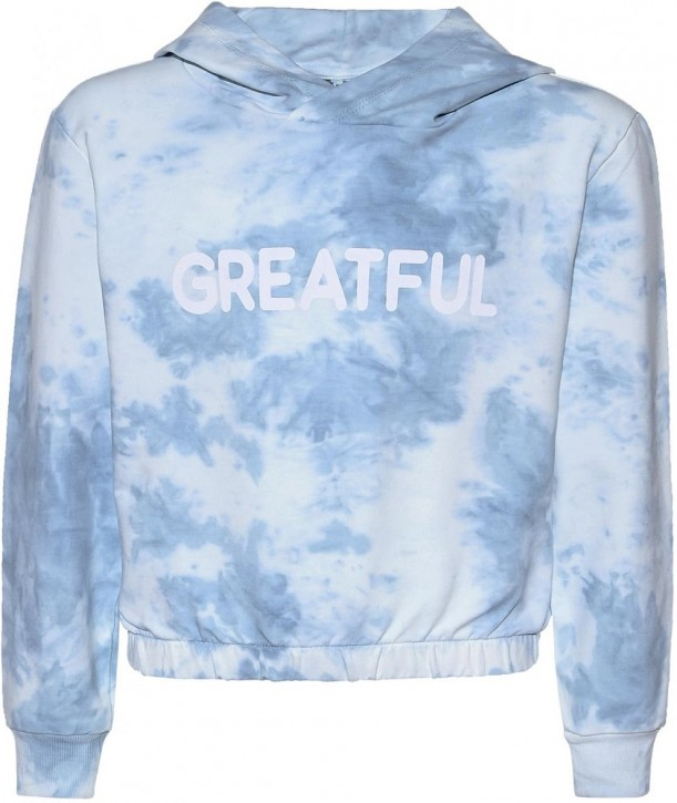 Blue Effect Mädchen Boxy Kapuzen-Sweat-Shirt / Hoodie GRATEFUL blau batik