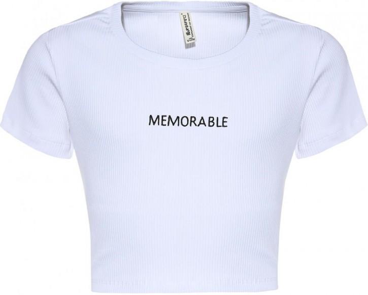 Blue Effect Mädchen geripptes Cropped T-Shirt MEMORABLE schneeweiß