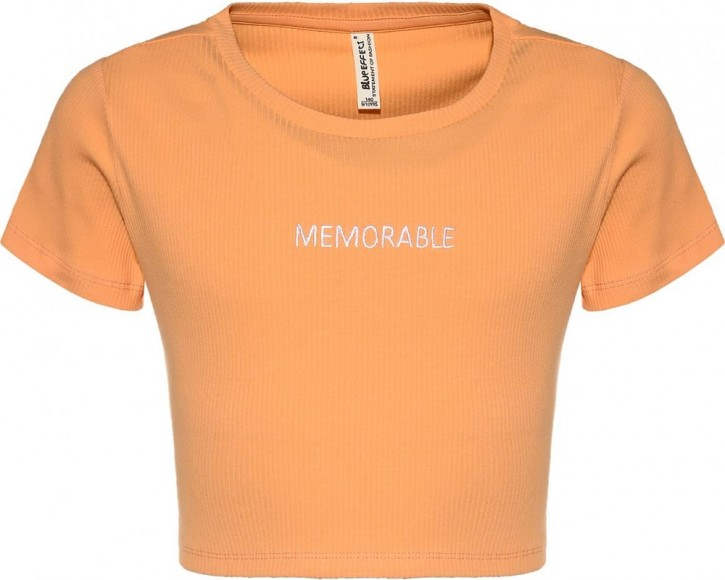 Blue Effect Mädchen geripptes Cropped T-Shirt MEMORABLE honigmelone
