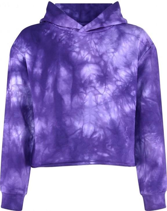 Blue Effect Mädchen Boxy Kapuzen-Sweat-Shirt / Hoodie aubergine batik