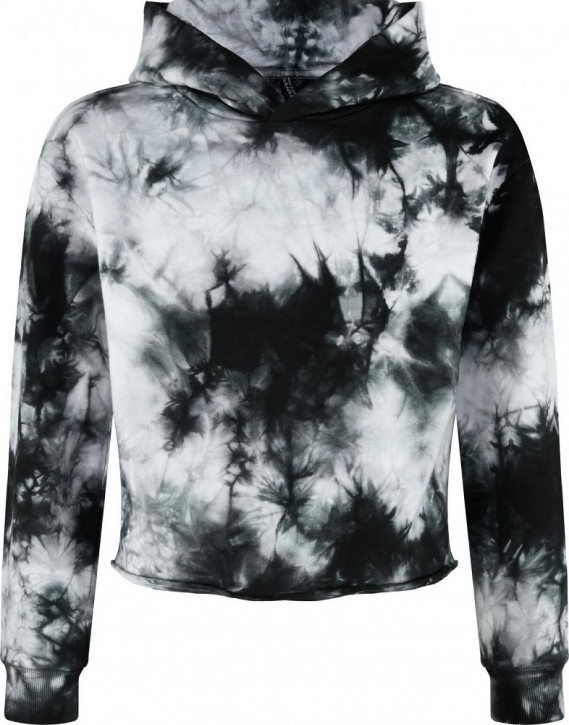 Blue Effect Mädchen Boxy Kapuzen-Sweat-Shirt / Hoodie schwarz batik