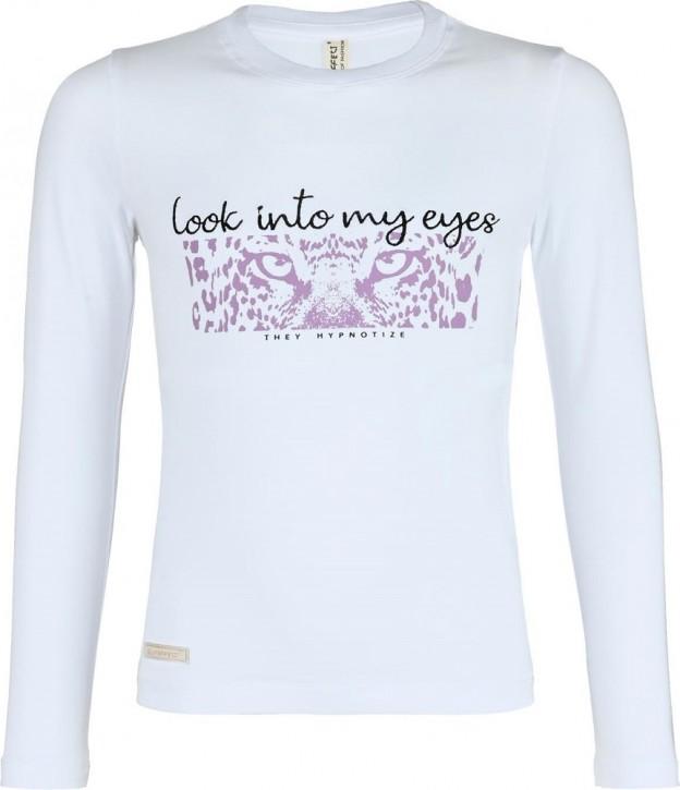Blue Effect Mädchen Langarm-Shirt/Longsleeve LOOK INTO MY EYES weiß