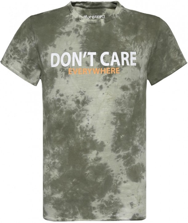 Blue Effect Jungen T-Shirt DON'T CARE dunkelgrün batik