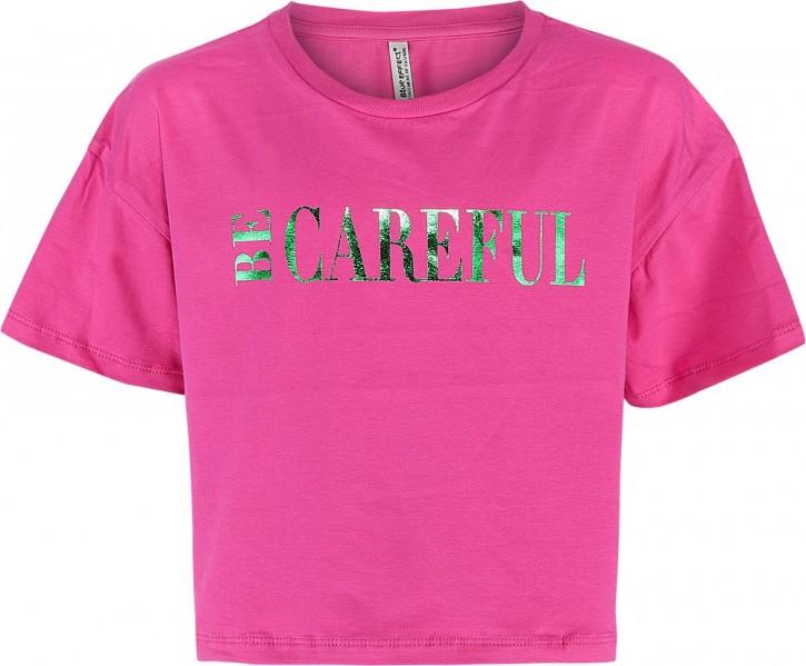 Blue Effect Mädchen Boxy T-Shirt BE CAREFUL pink