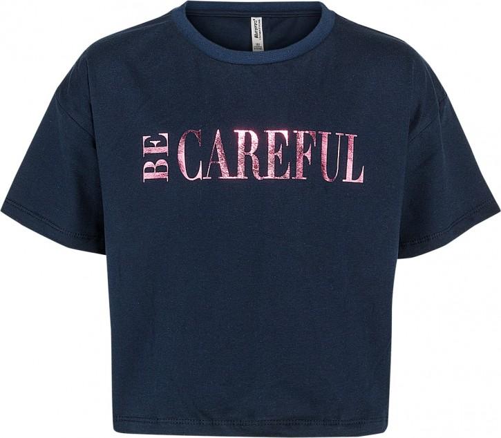Blue Effect Mädchen Boxy T-Shirt BE CAREFUL dunkelmarine