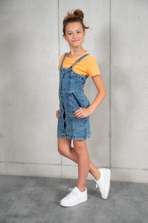 Blue Effect Mädchen Jeans Latzkleid mit Knopfleiste medium blue Pfeffer und Salz