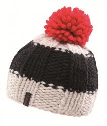 CAPO Handstrick-Mütze mit Bommel ecru Block-Streifen