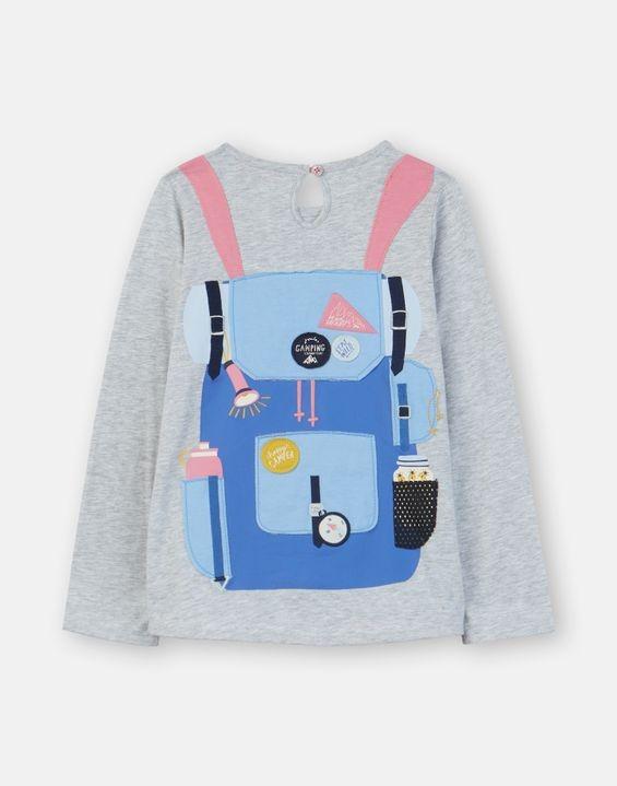 Joules Mädchen Langarm-Shirt/Longsleeve ANIMATE Rucksack grau rosa
