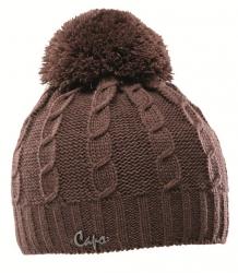 CAPO Strick-Mütze mit Bommel cacao