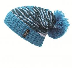 CAPO Sloppy-Strick-Mütze mit Pompon schmale Streifen azure