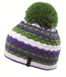 CAPO Mütze mit Pompon schmale Streifen grasgrün