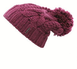 CAPO Sloppy-Strick-Mütze mit Pompon raspberry