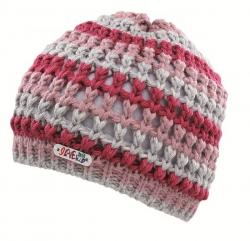 CAPO KIDS Strick-Mütze schmale Streifen rose