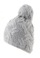 CAPO Strick-Beanie/Mütze mit Pompom grau