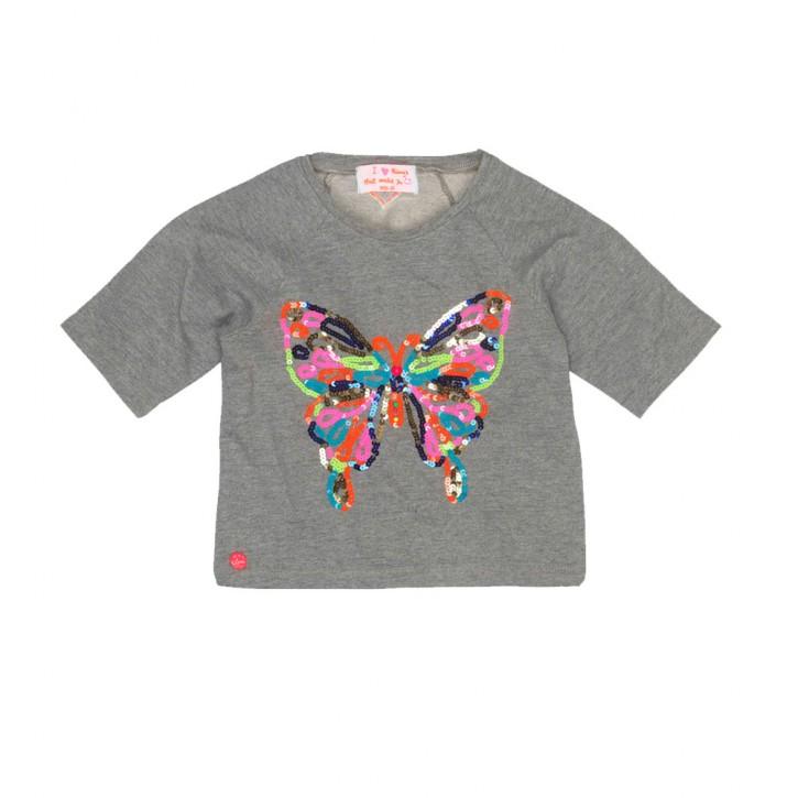 Mim-Pi 3/4-Arm-Shirt/Sweater Schmetterling grey melange