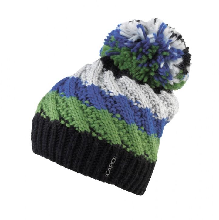 CAPO Two Cap mit Pompom schwarz-grün-blau-weiß