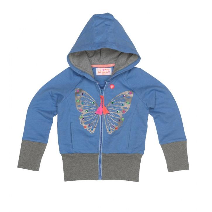 Mim-Pi Kapuzen-Sweat-Jacke Schmetterling jeans blue