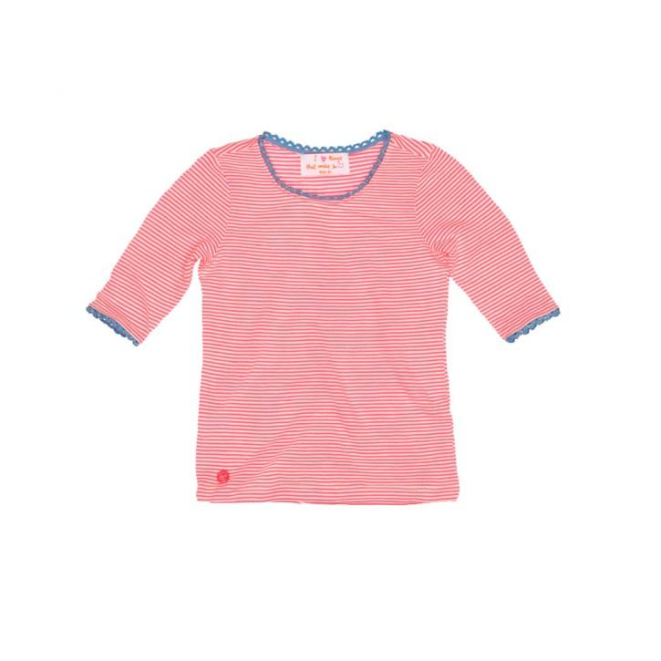 Mim-Pi 3/4-Arm-Shirt Streifen neon pink