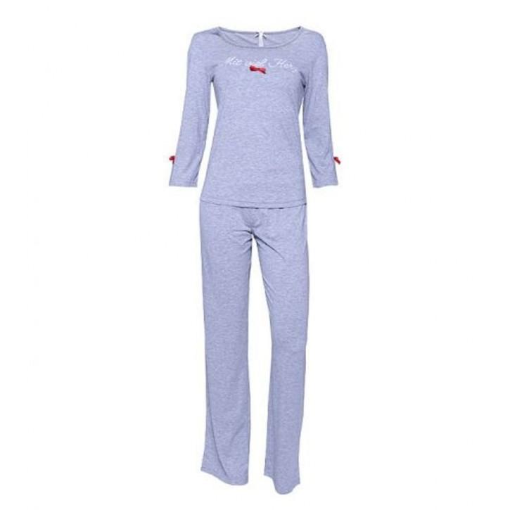 """Louis & Louisa Damen Schlafanzug/Pyjama """"Mit viel Herz"""" grau"""