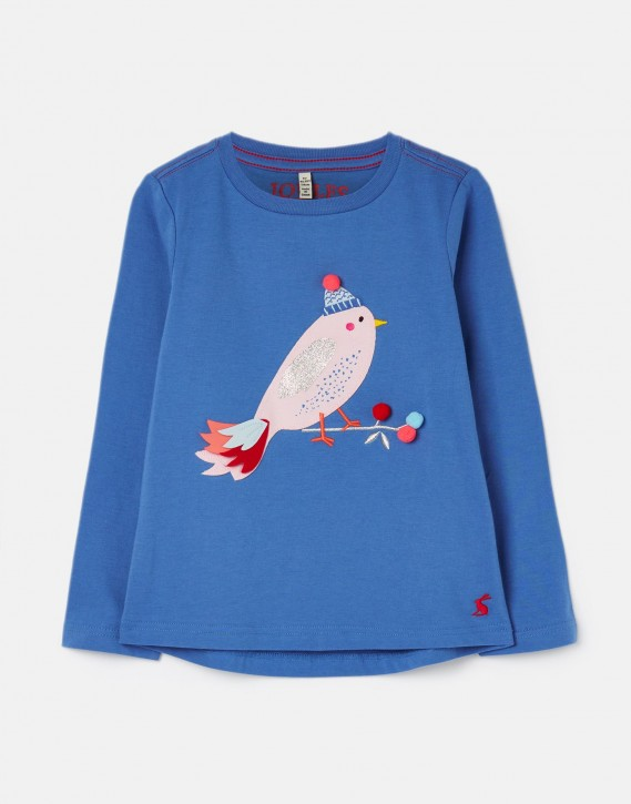 Joules Mädchen Langarm-Shirt/Longsleeve AVA Vogel-Applikation blau