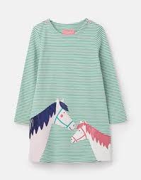 Joules Mädchen Langarm-Kleid KAYE Streifen Pferde-Applikation