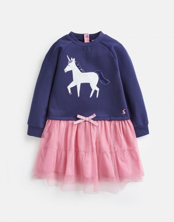 Joules Mädchen Tüll-Sweatshirt-Kleid HETTIE Einhorn marineblau rosa
