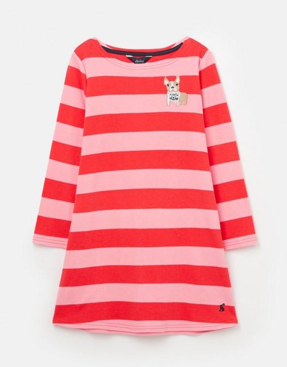 Joules Mädchen Langarm-Kleid RIVIERA Streifen rosa Hund
