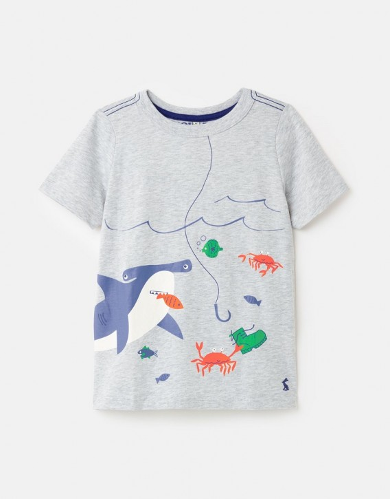 Joules Jungen T-Shirt BEN Meerestiere bedruckt grau