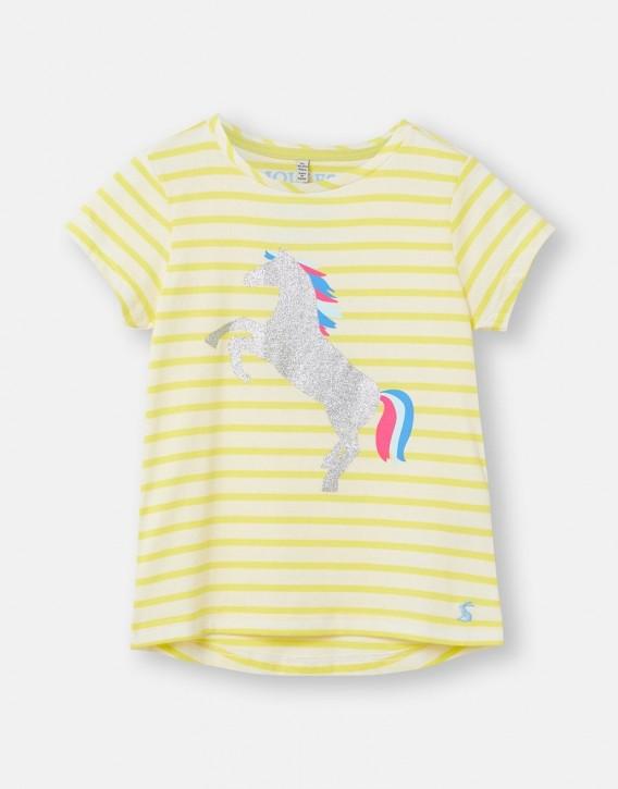 Joules Mädchen T-Shirt PIXIE Streifen Pferd gelb weiß