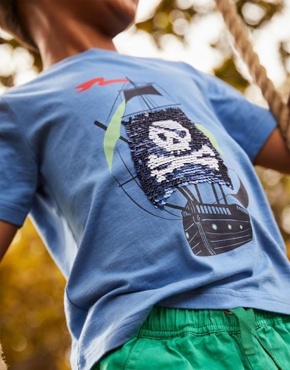 Joules Jungen Wendepailletten T-Shirt CULLEN Piratenschiff blau