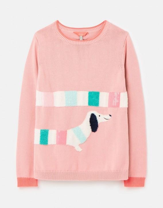 Joules Mädchen Strick-Pullover GEEGEE Hund pink