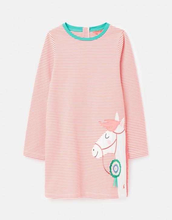 Joules Mädchen Langarm-Kleid ROSALEE Streifen Pony pink