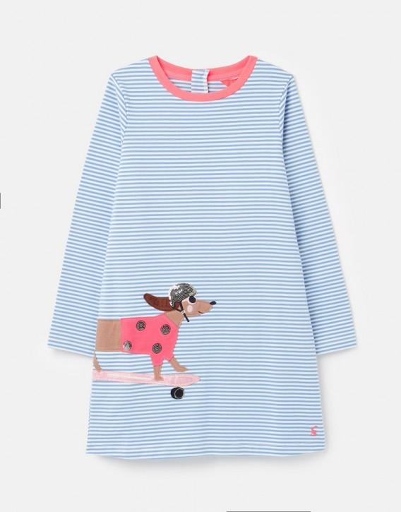 Joules Mädchen Langarm-Kleid ROSALEE Streifen Hund blau