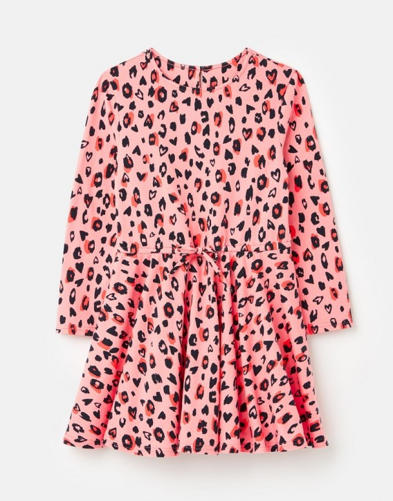 Joules Mädchen Langarm-Kleid FIONA Leopard pink