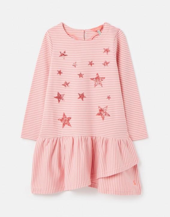 Joules Mädchen Langarm-Kleid ROSELYN Streifen Sterne
