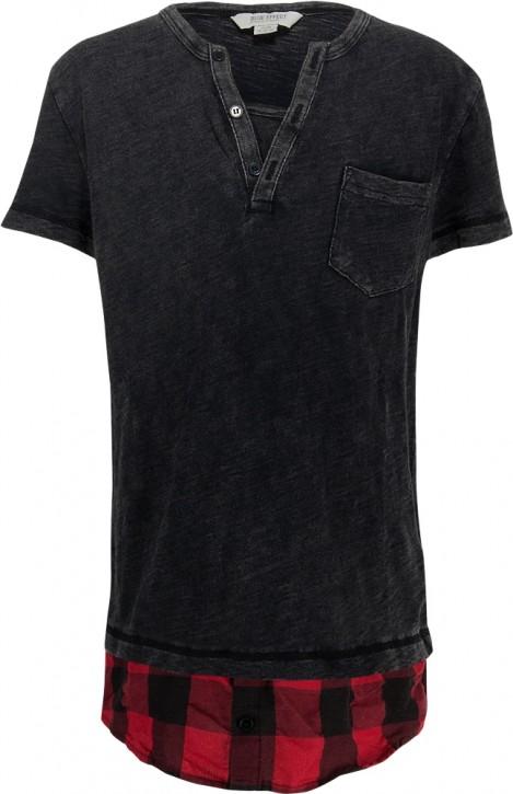 Blue Effect Jungen T-Shirt Denimlook schwarz karo