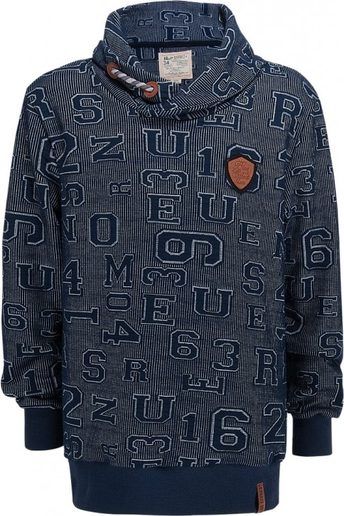 Blue Effect Schalkragen-Shirt / Sweater Zahlen blau