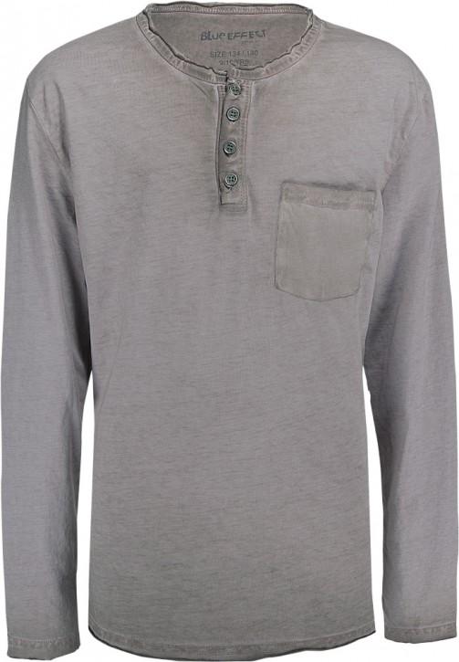 Blue Effect Langarm-Shirt/Longsleeve mit Knopfleiste schlamm