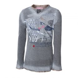 Muy Malo Langarm-Shirt/Longsleeve Frauen-Print dark gull gray