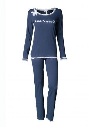 """Louis & Louisa Damen Schlafanzug/Pyjama """"KUSCHELZEIT"""" dunkelblaublau"""
